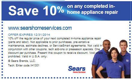 Sears also carries tools and fitness equipment, and offers services including repairs, installation and cleaning. Sears often has coupon codes that can save you up to 20 percent off, or dollar amounts off specific items or brands.