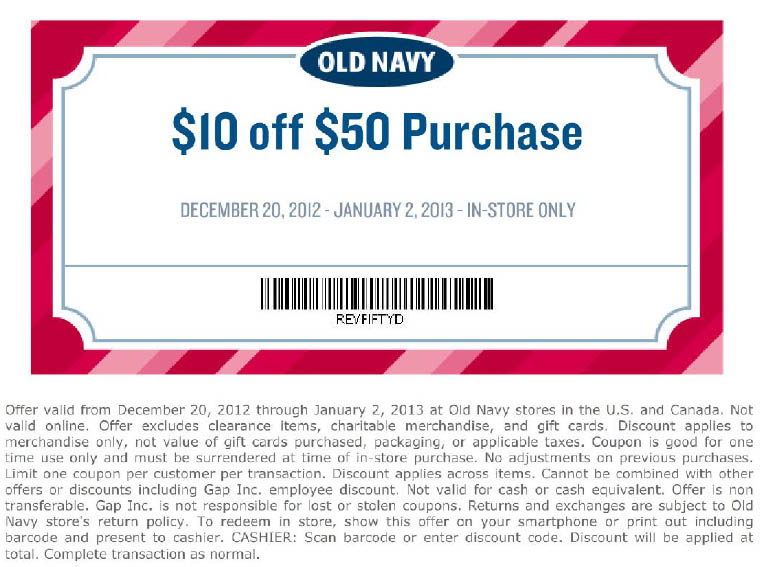 Old Navy is a favorite among many shoppers for their fashionable yet affordable clothing for every member of the family. Old Navy boasts a plentiful selection for women, kids, men, and baby. They also have a maternity section. When you shop at Old Navy, you can keep up with the latest styles without breaking the bank/5.