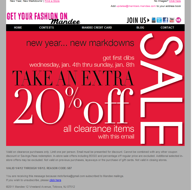 Mandee discount coupons