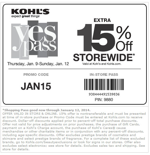 Dollar-off discounts, including Kohl's Cash® coupons, Yes2You Rewards® and Promotional Gifts, will be applied prior to percent-off total purchase discounts/coupons. Offer cannot be used in conjunction with any other percent-off discounts, including age-specific discounts.