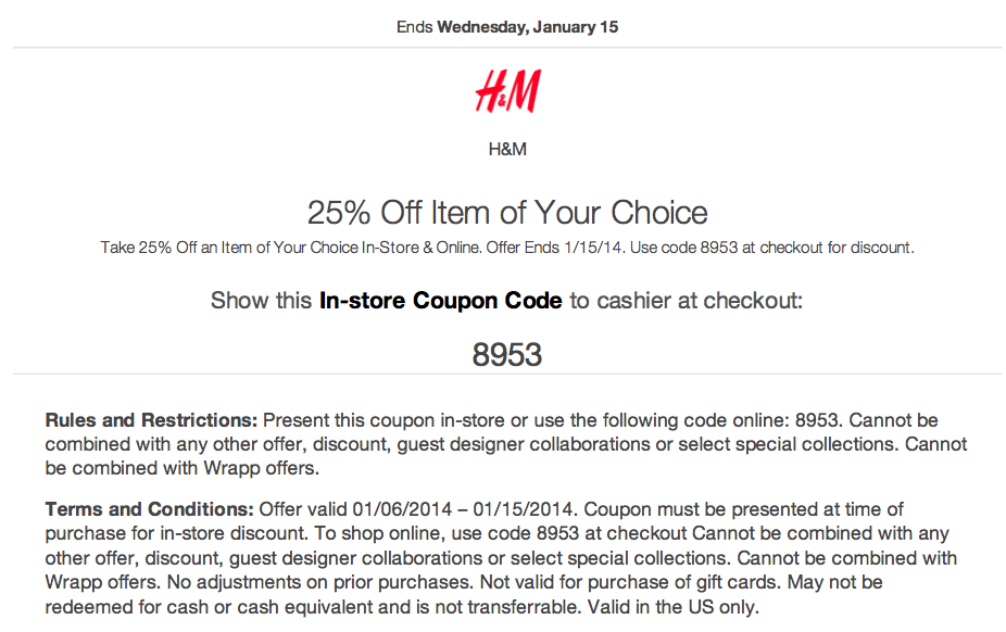 H&m coupon codes
