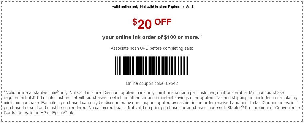 COUPON HP INK STAPLES
