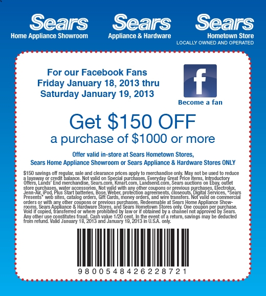 Sears outlet coupon codes 2018