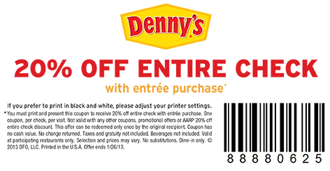 picture relating to Dennys Printable Coupons titled Existing Dennys Cafe Discount coupons Printable -
