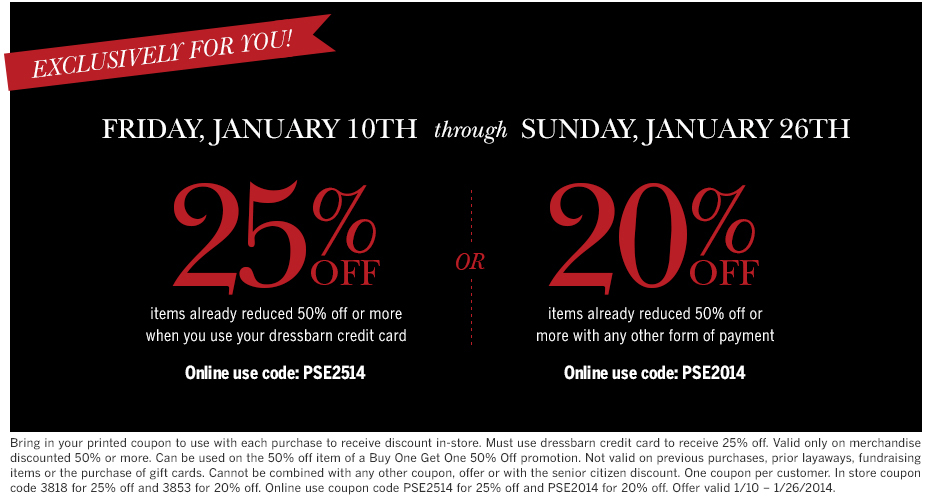 Dress barn 20 off printable coupon - Coupon processing services