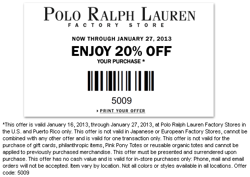 Today's top Ralph Lauren Promo Code: 40% off select gifts + Extra 10% Off Cold Weather Accessories (applied automatically at cart). See 40 Ralph Lauren Promo Code and Coupon for December