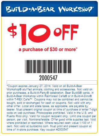 of stores!Print Coupon - Build a Bear: $10 off $30 Printable Coupon ...