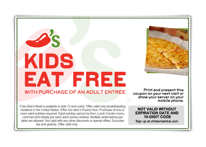 picture regarding Chilis Printable Coupons named Chilis: Free of charge Small children Supper Printable Coupon