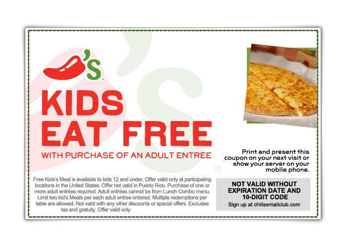 chilis free kids meal printable coupon