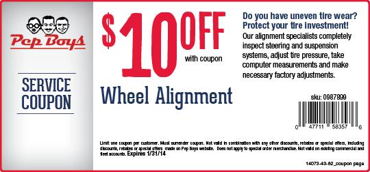 Pep Boys 10 Off Wheel Alignment Printable Coupon