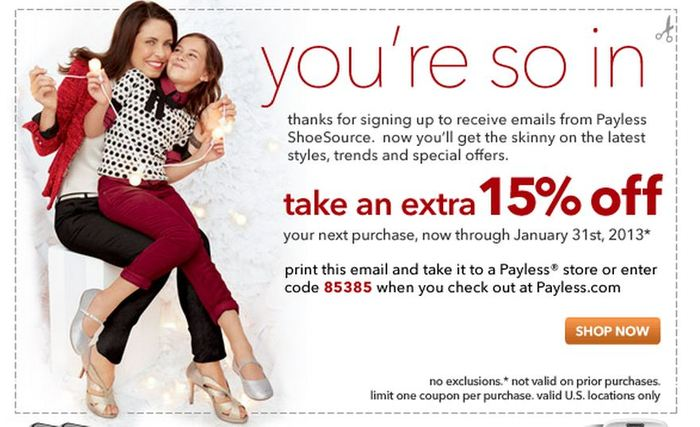 FREE IS MY LIFE: COUPON: 15% off ANY Payless in-store Purchase