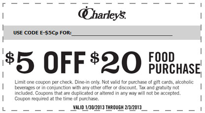 photograph about O'charley's 20 Off Printable Coupon named Ocharleys coupon codes 5 off / Household depot printable discount codes within