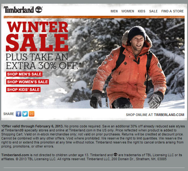Timberland offers quality, durable boots and shoes for both men and women, as well as casual clothing and accessories. You can save up to 75% off their clearance and sale section at any time of the year, or use our 40% off Timberland coupon code, promo codes and printable coupons .