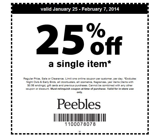Peebles Coupon Codes. fihideqavicah.gq Current Peebles Coupons. This page contains a list of all current Peebles coupon codes that have recently been submitted, tweeted, or voted working by the community. Save 25% Off using Coupon Code. 25% off or 50% off red-line clearance with coupon: or online with code Excl. apply.