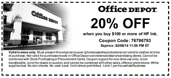 Office depot 20 off hp ink printable coupon - Office depot discount code ...