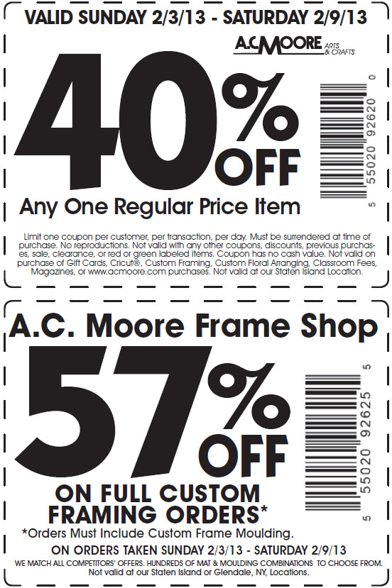 Ac moore coupon code