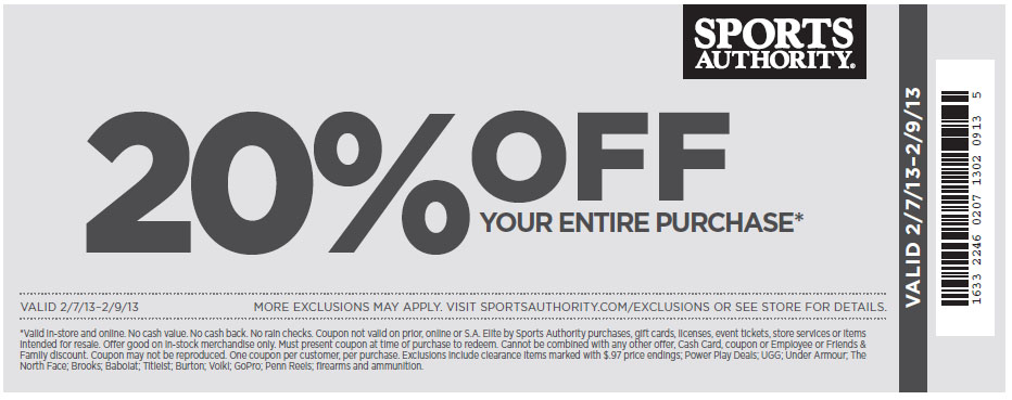 photograph about Sports Authoirty Printable Coupon named Sporting activities authority 20 off coupon oct 2018 / 2 for just one