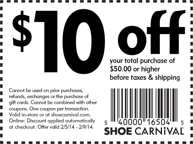 Shoe Carnival Promo Codes & Holiday Coupons for December, Save with 7 active Shoe Carnival promo codes, coupons, and free shipping deals. 🔥 Today's Top Deal: Get $10 Off Site-Wide On Your Purchase Of $ On average, shoppers save $20 using Shoe Carnival coupons from softmyconro.ga