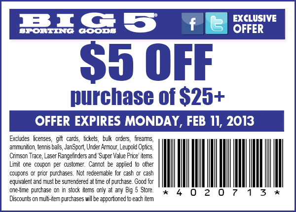 photograph regarding Big 5 Coupons Printable named Significant 5 Wearing Products: $5 off $25 Printable Coupon