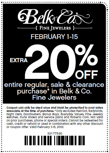 belk com 20 % off jewelers printable coupon see all belk com coupons