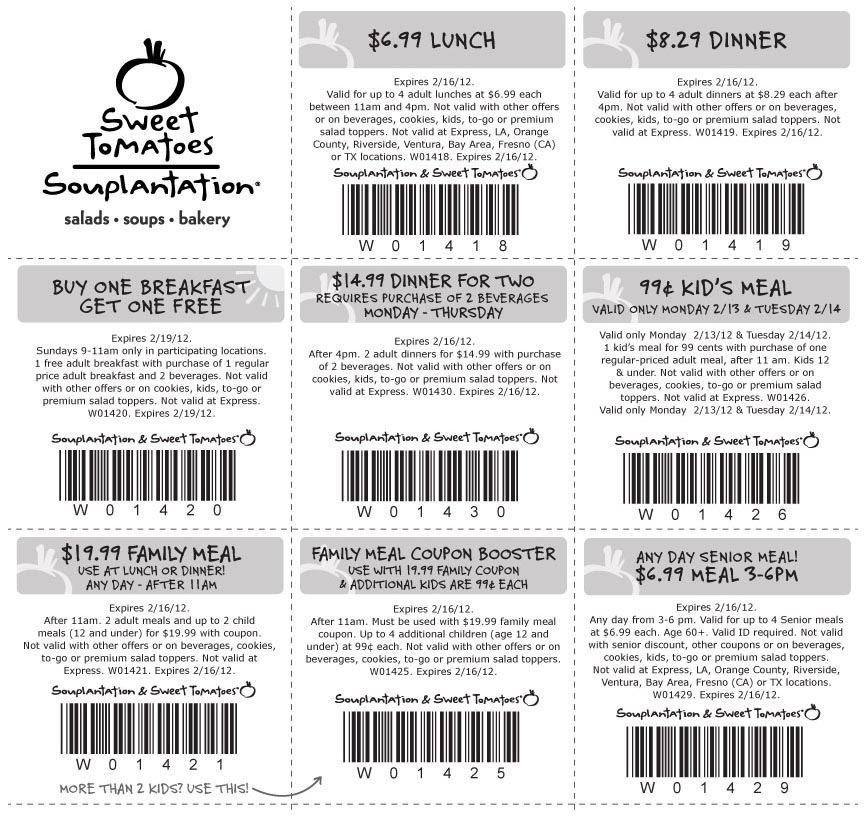 Sweet tomatoes coupons 2018 family