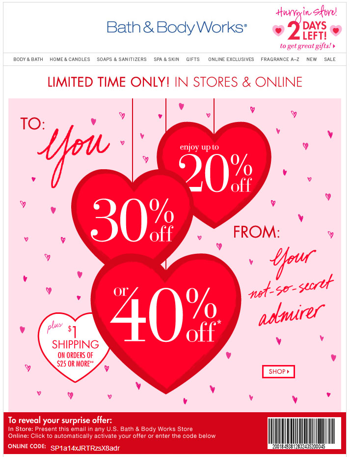 Bath and body works 40 off coupon feb 2018