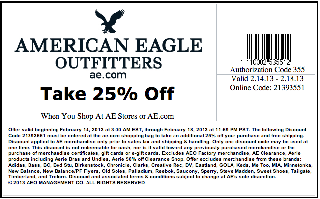 American Eagle AE Coupon Codes for April 2014