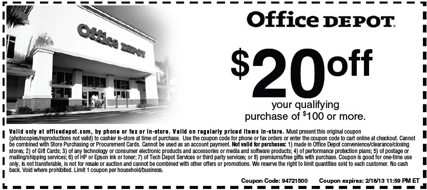 Office depot 20 off 100 printable coupon - Office depot business coupons ...