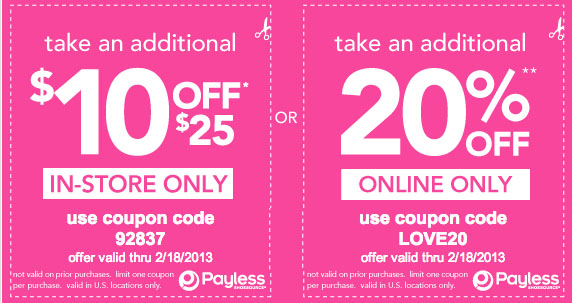 Payless shoes coupons 10 off 10