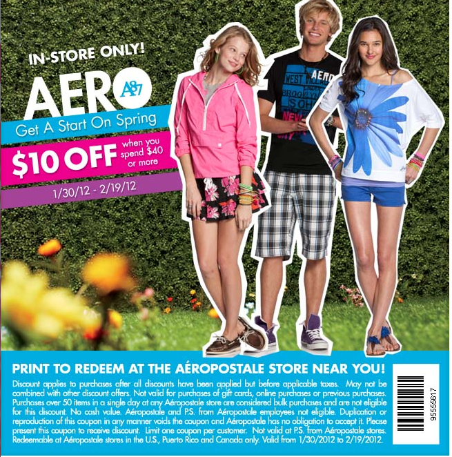 Aeropostale: $10 off $40 Printable Coupon