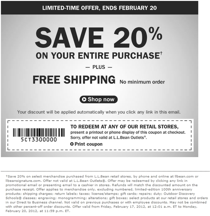 LL Bean: 20% off Printable Coupon