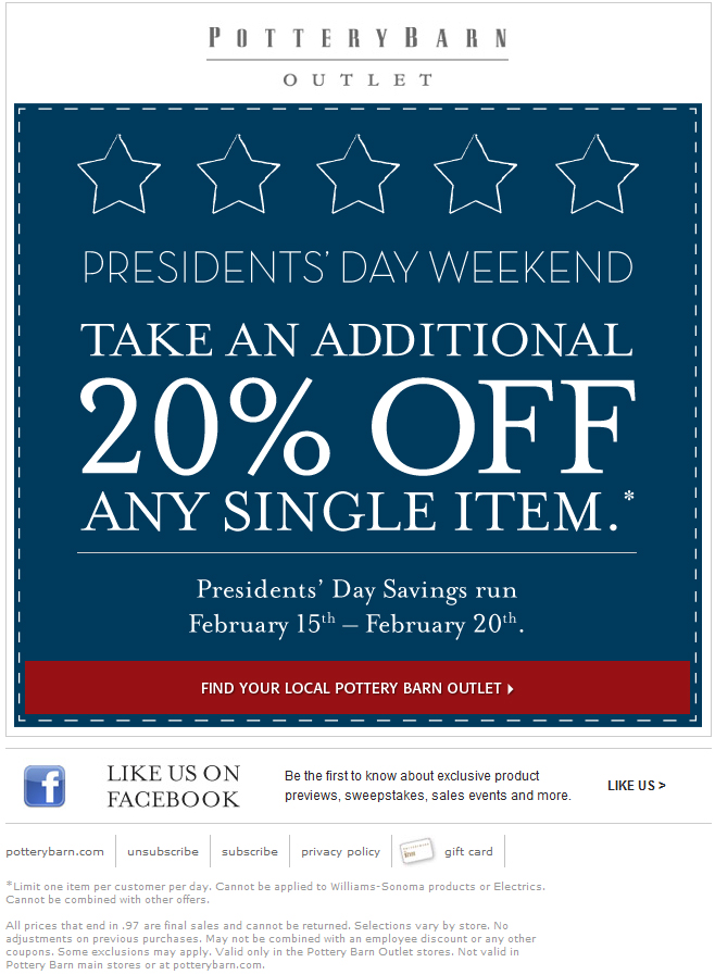 Pottery Barn: 20% off Printable Coupon