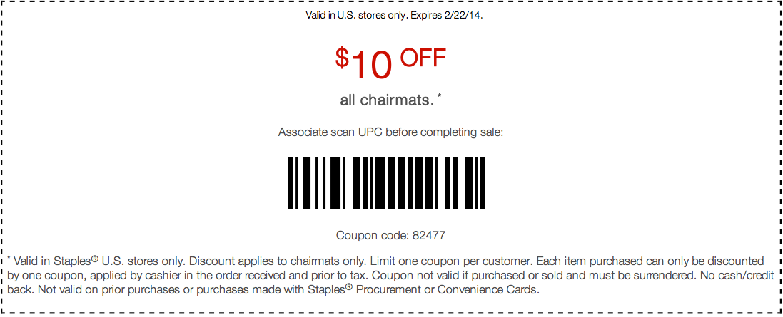 staples 10 off chairmats printable coupon