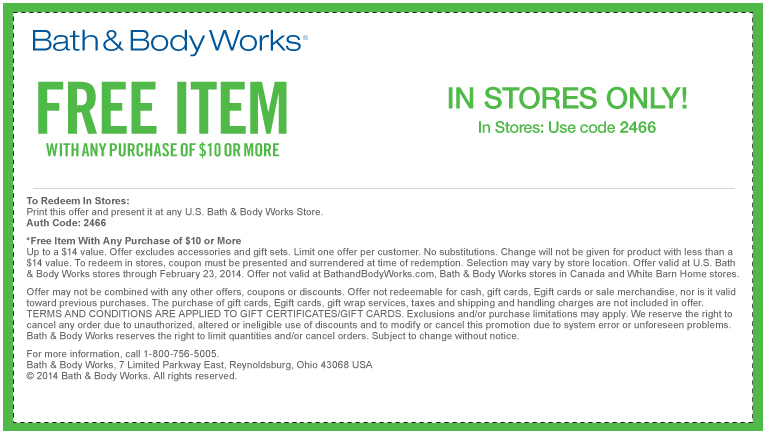 bath and body works free item coupon 2015