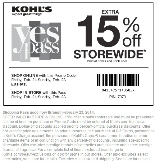 Offer must be presented at time of in-store purchase or promo code must be entered at dasreviews.ml to receive discount. Limit one offer per customer. Dollar-off discounts, including Kohl's Cash® coupons, Yes2You Rewards® and Promotional Gifts, will be applied prior to percent-off total purchase discounts/coupons.