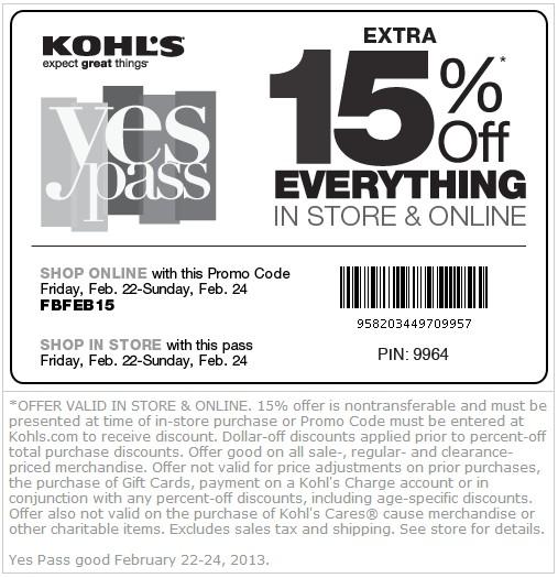 Kohl's 15 off printable coupons