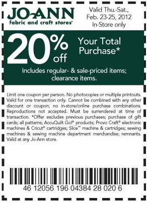 Craft your way to savings with these 48 Joann Fabrics coupons and promo codes for December Today's top offer: 75% Off. Count on Coupon Sherpa to find the best discounts!