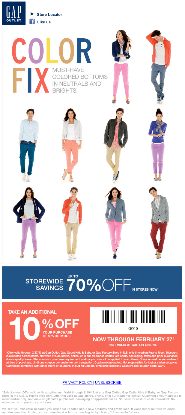 Gap factory online coupon code