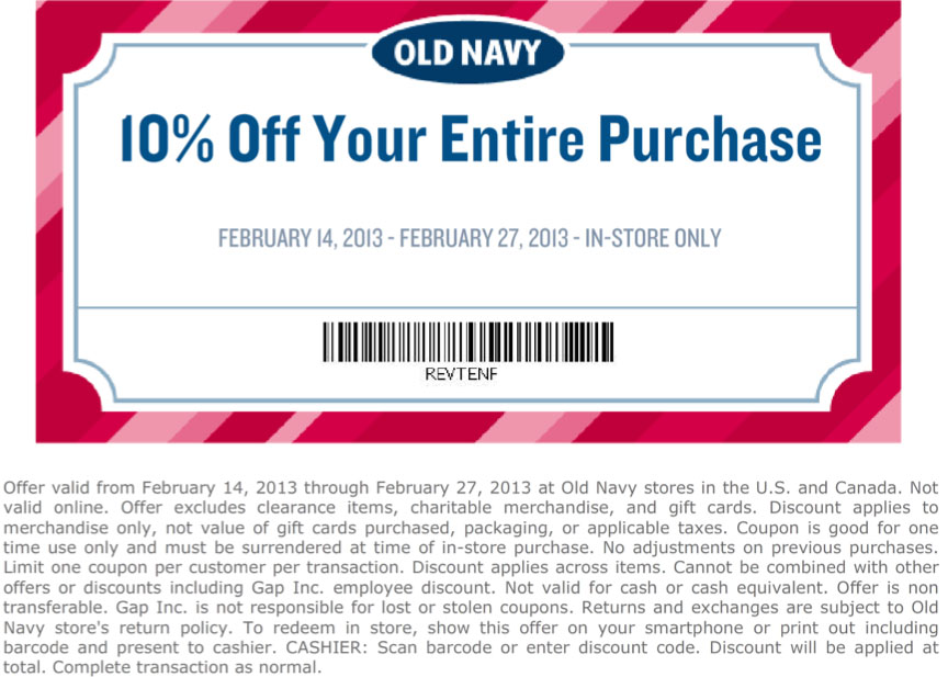 Discounts average $16 off with a Old Navy Canada promo code or coupon. 19 Old Navy Canada coupons now on RetailMeNot.