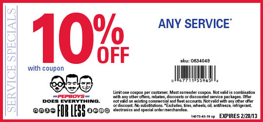 Pep boys discount coupon