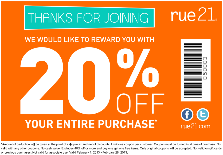 This is a picture of Nifty Rue 21 Coupons in Store Printable