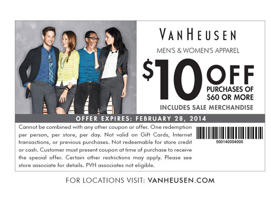 Van heusen discount coupons