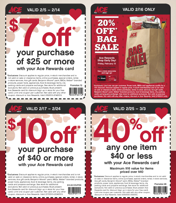 photo about Ace Hardware Printable Coupons identify Ace components shop coupon codes printable / Aged military discount coupons inside of