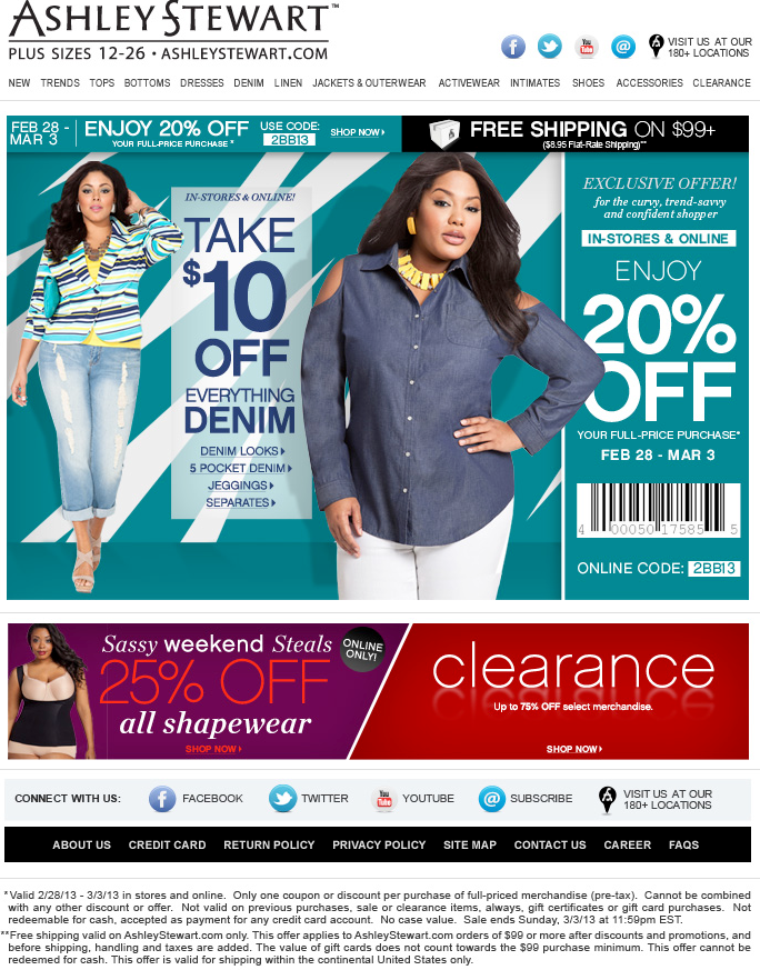 Whether you're shopping in-store or online, there are Ashley Stewart coupons you can use to get yourself an extra discount. Check Ashley Stewart's official coupons page and swing by insurancecompanies.cf to make sure you're getting a great deal, whether you're walking in or browsing online.5/5(15).