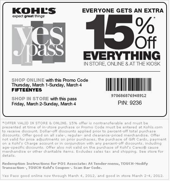 Kohls free shipping coupon code mvc