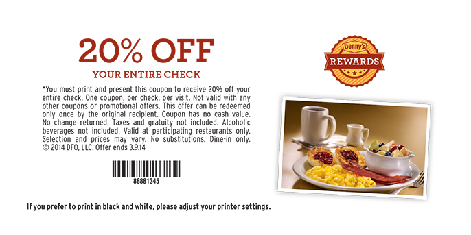 picture regarding Dennys Printable Coupons identified as Dennys cafe discount codes 20 off / Discount coupons orlando apple