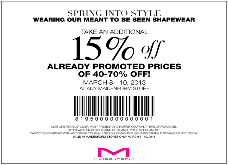 This page contains a list of all current Maidenform coupon codes that have recently been submitted, tweeted, or voted working by the community.