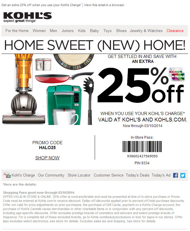 It's just a picture of Fabulous Kohls 10 Off 25 Printable Coupon