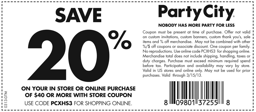 Save big with the latest coupons and discounts. Buy online or at your Party City local store. $20 Off $ Online Code: SAVEMORE. OR Free Ground Shipping on Orders $39+ Online Code: FREESHIP new products and specials from Party City. Text FUN to to receive mobile offers and alerts. Learn More Follow Us. #PartyCity.
