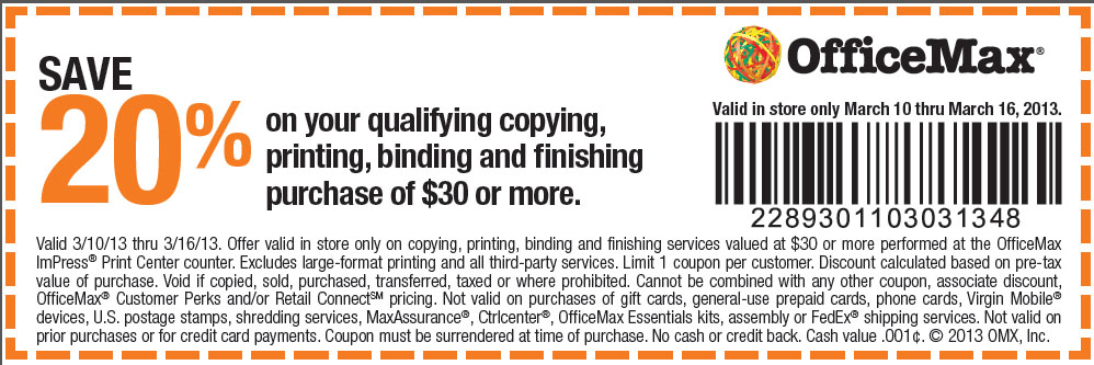 officemax 20 off 30 copying printable coupon
